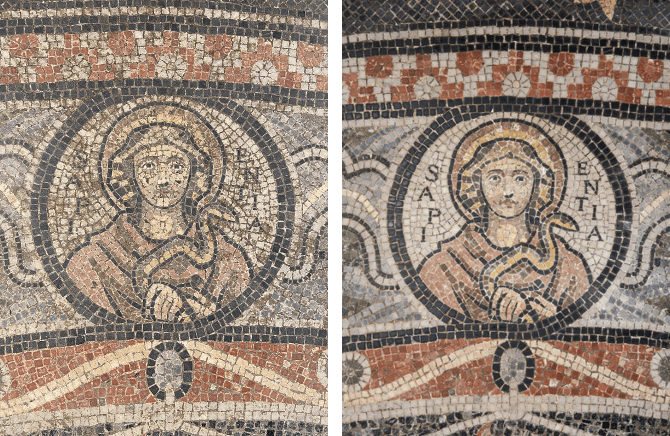 Baptistry floor - before and after photographs